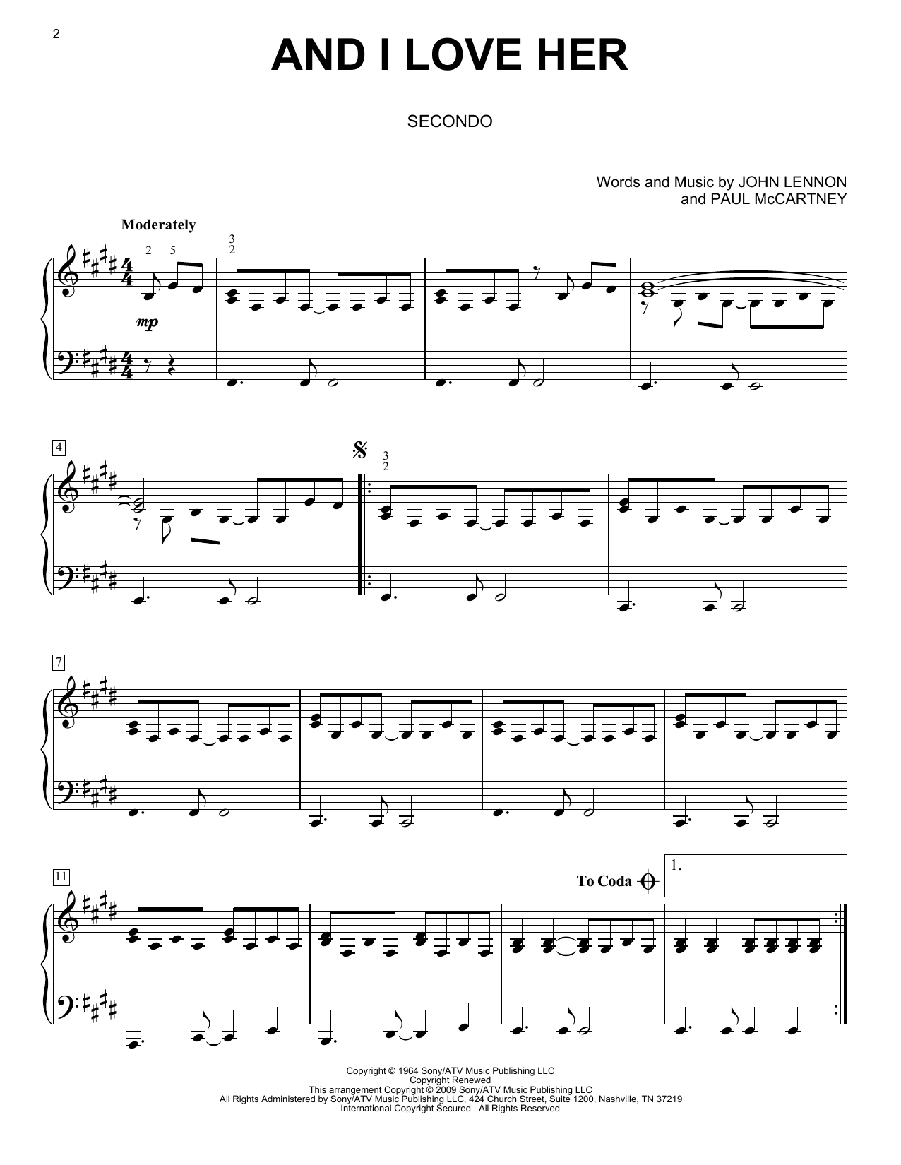 And I Love Her sheet music for piano four hands (duets) by Paul McCartney