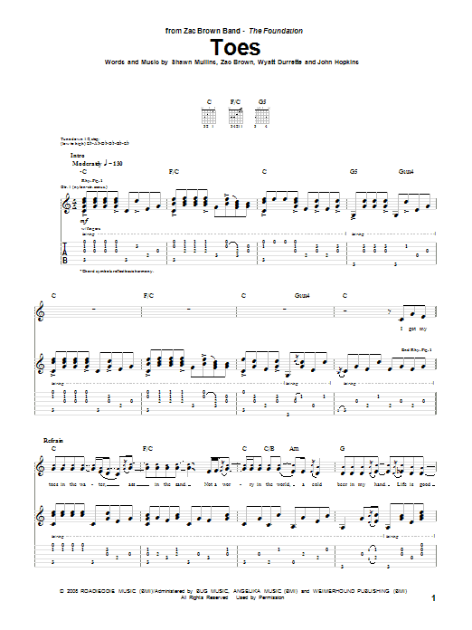 Tablature guitare Toes de Zac Brown Band - Tablature Guitare
