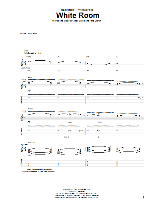 Tablature guitare White Room de Cream - Tablature Guitare
