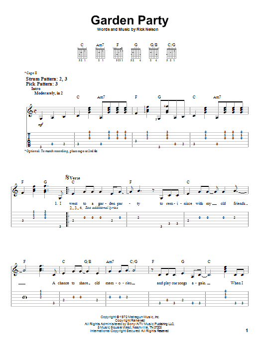 Ricky Nelson Garden Party Easy Guitar Tab