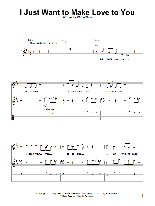 I Just Want To Make Love To You sheet music for guitar solo (tablature, play-along) by Muddy Waters