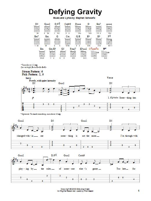Tablature guitare Defying Gravity de Stephen Schwartz - Tablature guitare facile