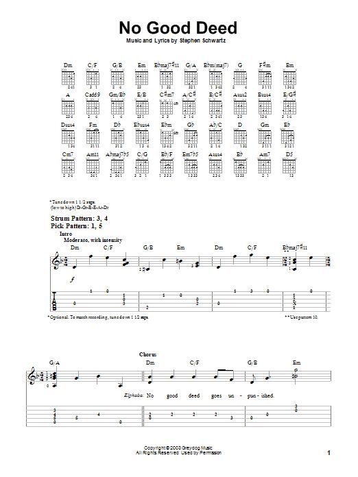 Tablature guitare No Good Deed de Stephen Schwartz - Tablature guitare facile