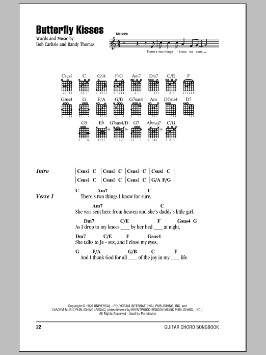 Butterfly Kisses sheet music for guitar solo (chords, lyrics, melody) by Randy Thomas