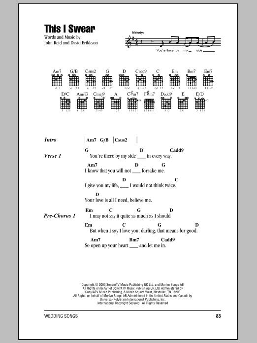 This I Swear sheet music for guitar solo (chords, lyrics, melody) by David Eriksen