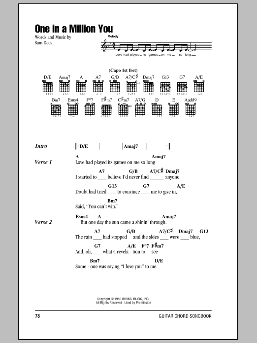 One In A Million You sheet music for guitar solo (chords, lyrics, melody) by Sam Dees