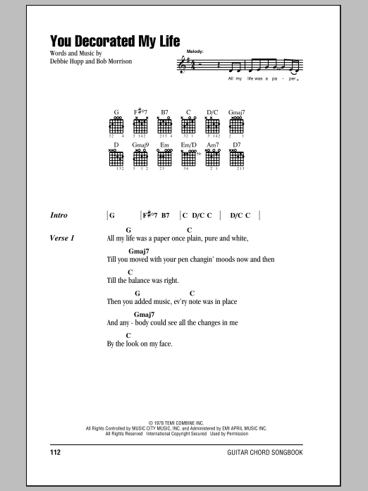 You Decorated My Life sheet music for guitar solo (chords, lyrics, melody) by Debbie Hupp