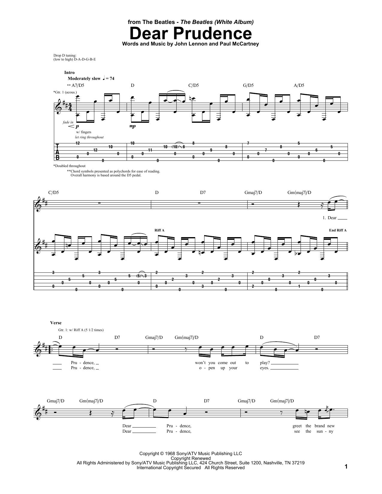 Tablature guitare Dear Prudence de The Beatles - Tablature Guitare