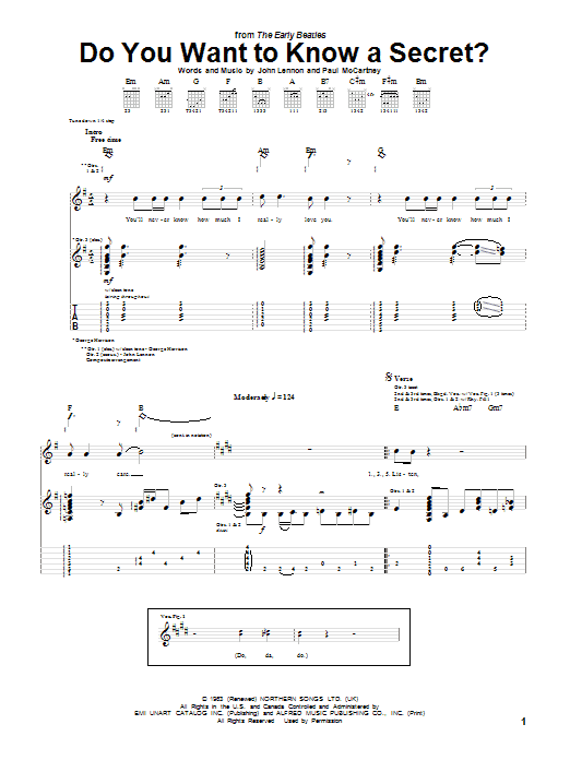 Tablature guitare Do You Want To Know A Secret? de The Beatles - Tablature Guitare