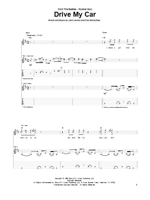 Tablature guitare Drive My Car de The Beatles - Tablature Guitare