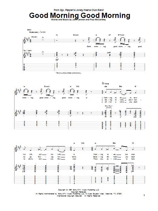 Tablature guitare Good Morning Good Morning de The Beatles - Tablature Guitare