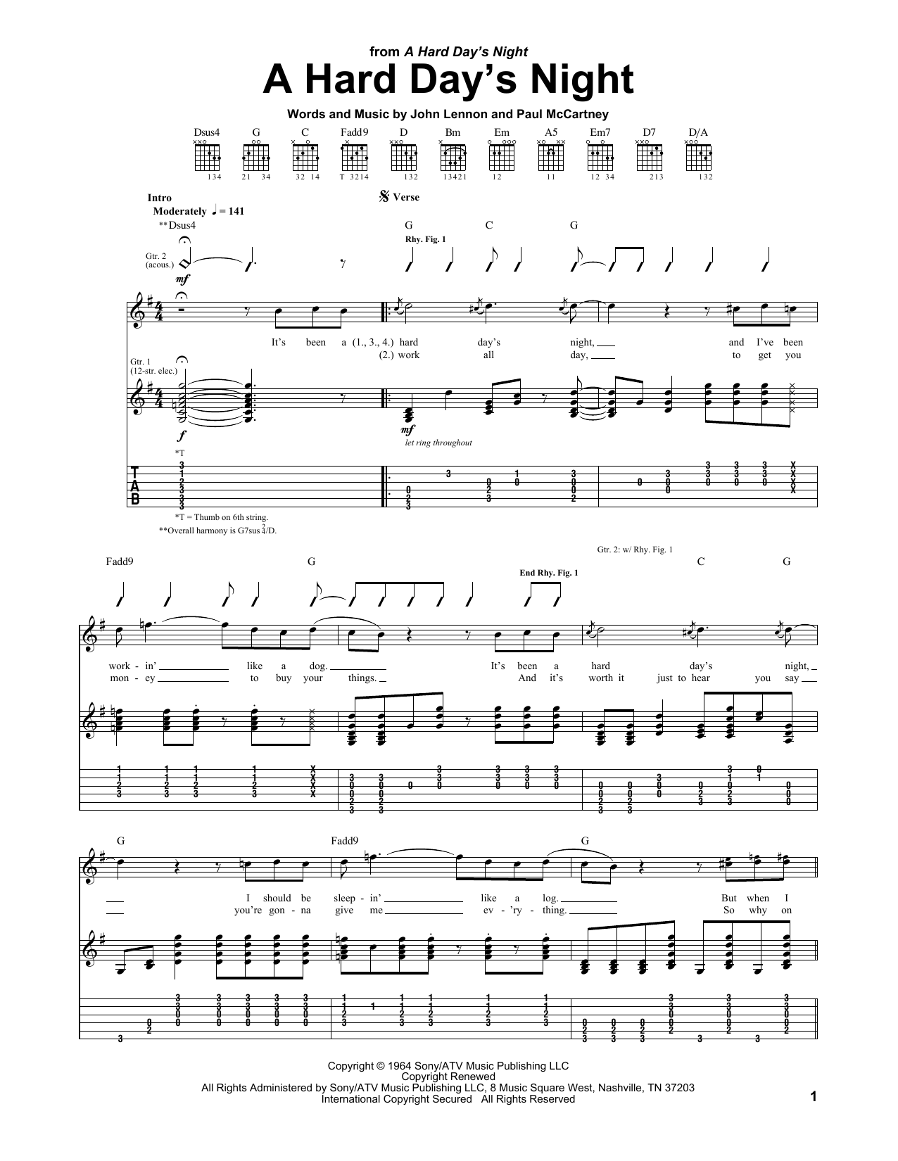 A Hard Day's Night sheet music for guitar solo (tablature) by Paul McCartney