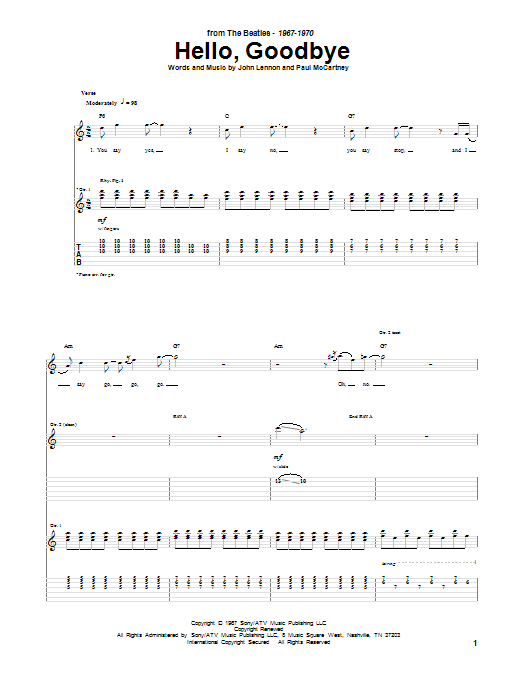 Tablature guitare Hello, Goodbye de The Beatles - Tablature Guitare