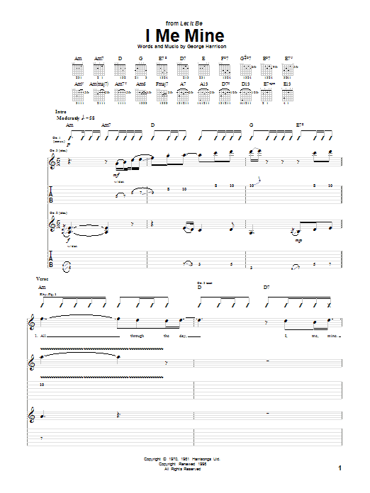 Tablature guitare I Me Mine de The Beatles - Tablature Guitare