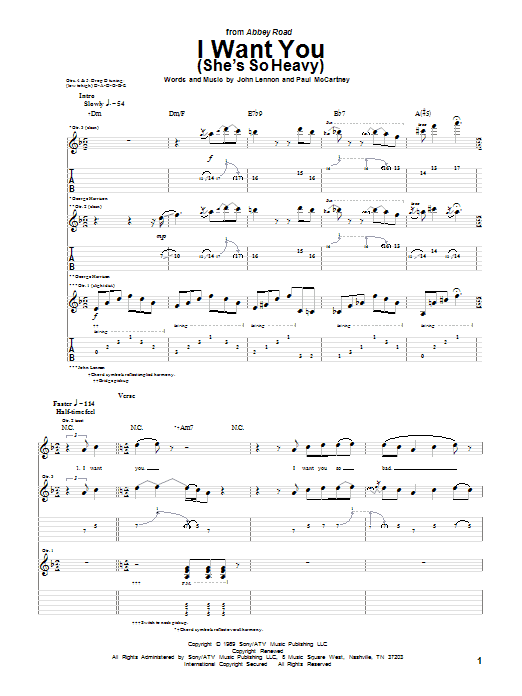 Tablature guitare I Want You (She's So Heavy) de The Beatles - Tablature Guitare