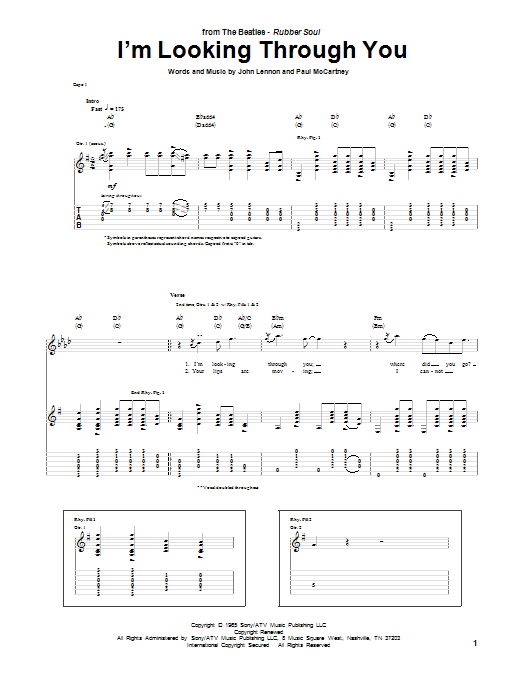 Tablature guitare I'm Looking Through You de The Beatles - Tablature Guitare