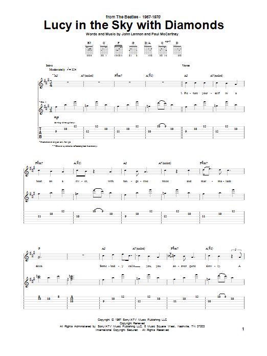 Tablature guitare Lucy In The Sky With Diamonds de The Beatles - Tablature Guitare
