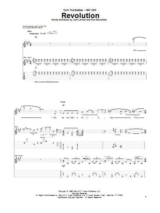 Tablature guitare Revolution de The Beatles - Tablature Guitare