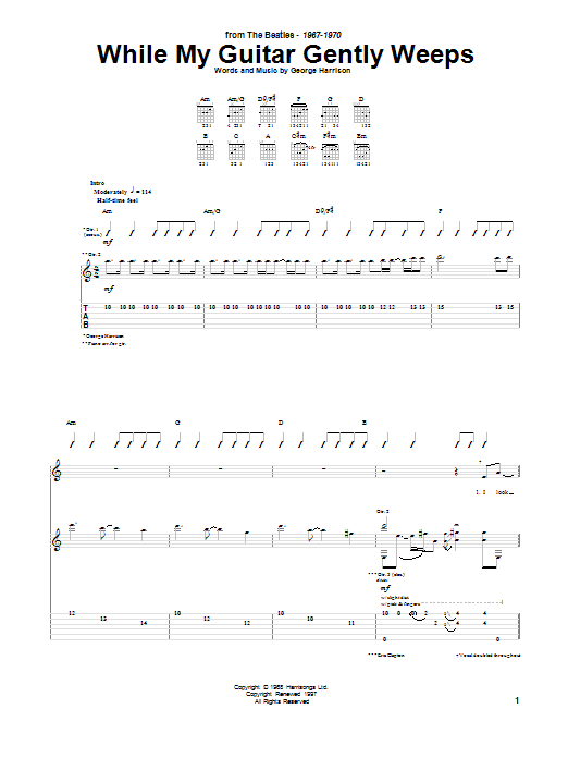 Tablature guitare While My Guitar Gently Weeps de The Beatles - Tablature Guitare