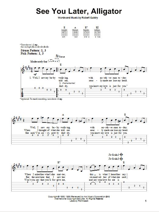 Tablature guitare See You Later, Alligator de Bill Haley & His Comets - Tablature guitare facile