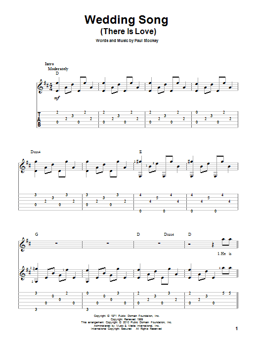 Tablature guitare Wedding Song (There Is Love) de Peter, Paul & Mary - Tablature Guitare