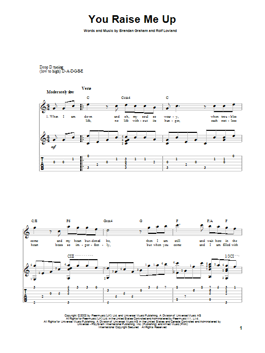 Tablature guitare You Raise Me Up de Josh Groban - Tablature Guitare