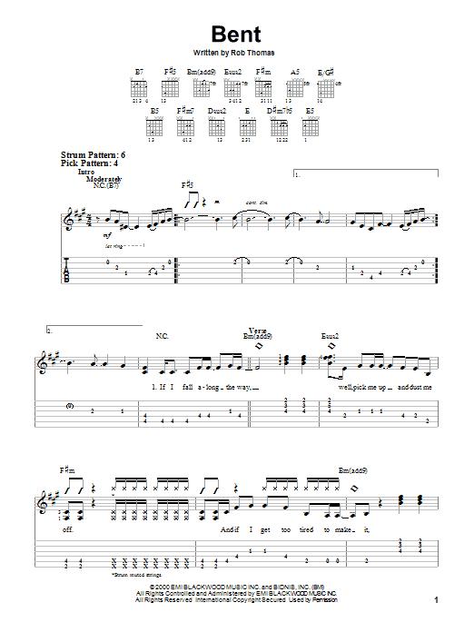 Tablature guitare Bent de Matchbox Twenty - Tablature guitare facile