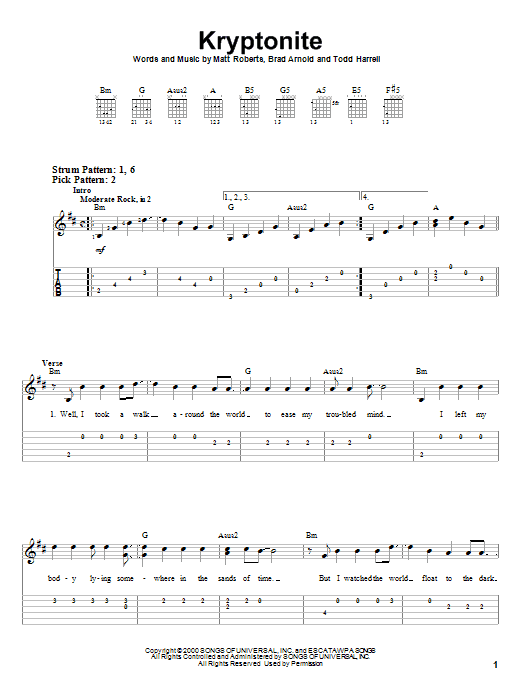 Kryptonite sheet music for guitar solo (easy tablature) by Todd Harrell