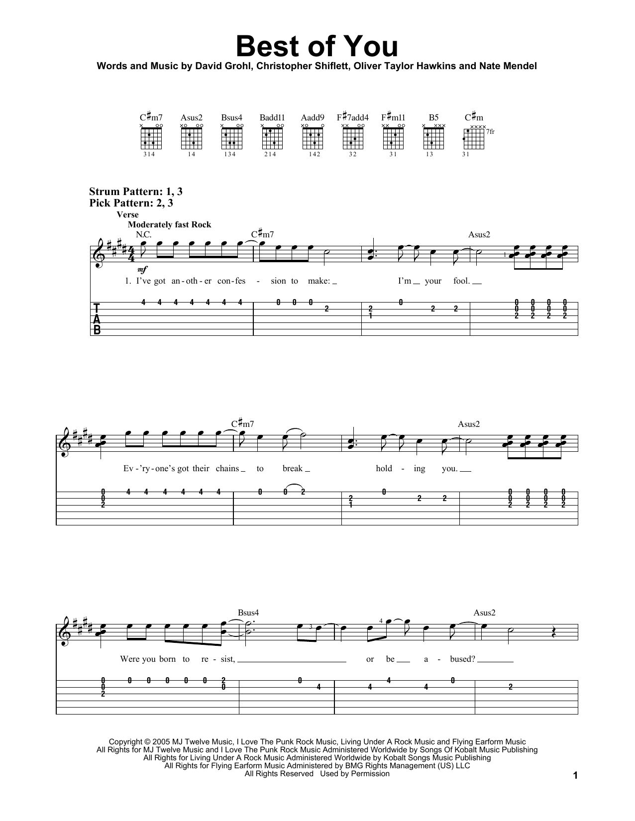 Best Of You sheet music for guitar solo (easy tablature) by Taylor Hawkins