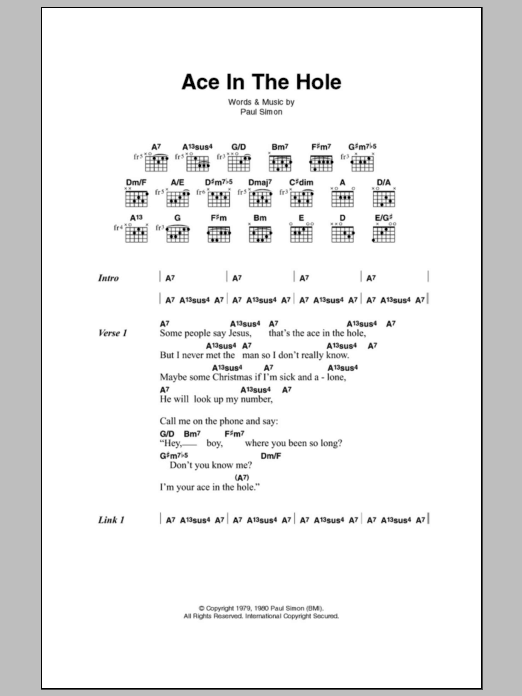 Ace In The Hole sheet music for guitar solo (chords, lyrics, melody) by Paul Simon