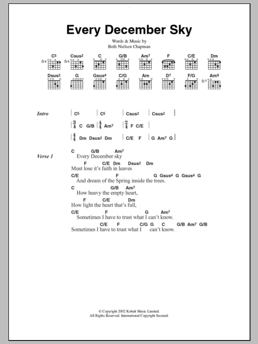 Every December Sky sheet music for guitar solo (chords, lyrics, melody) by Beth Nielsen Chapman