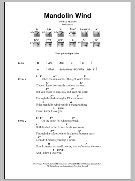 Mandolin Wind by Rod Stewart - Guitar Chords/Lyrics - Guitar Instructor
