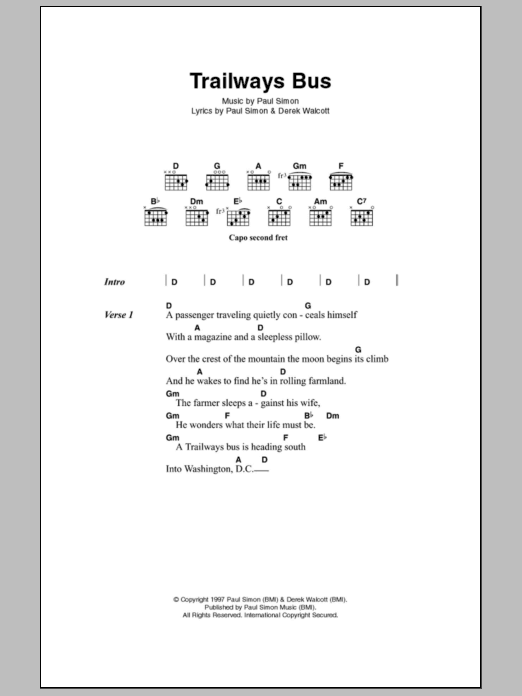 Trailways Bus sheet music for guitar solo (chords, lyrics, melody) by Derek Walcott