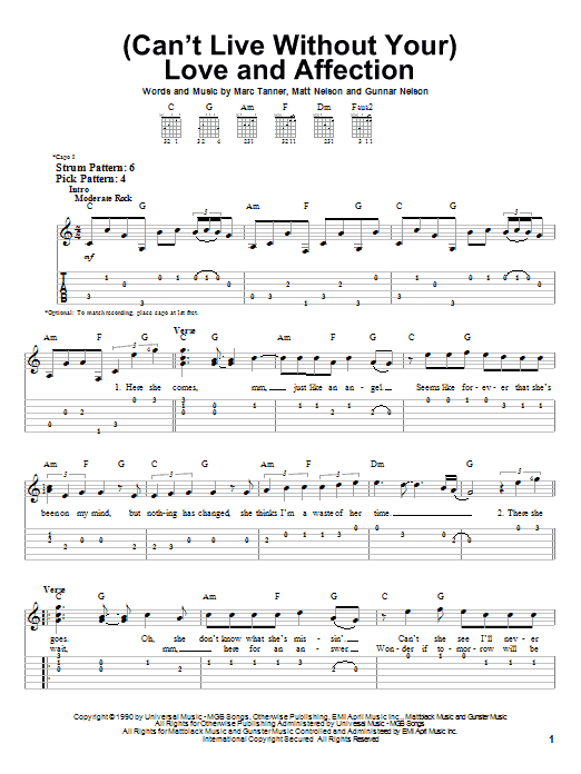 Tablature guitare (Can't Live Without Your) Love And Affection de Nelson - Tablature guitare facile