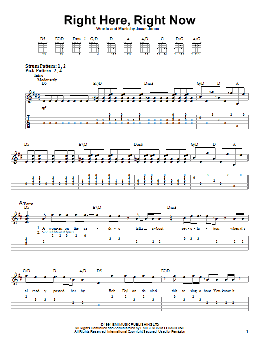 Tablature guitare Right Here, Right Now de Jesus Jones - Tablature guitare facile
