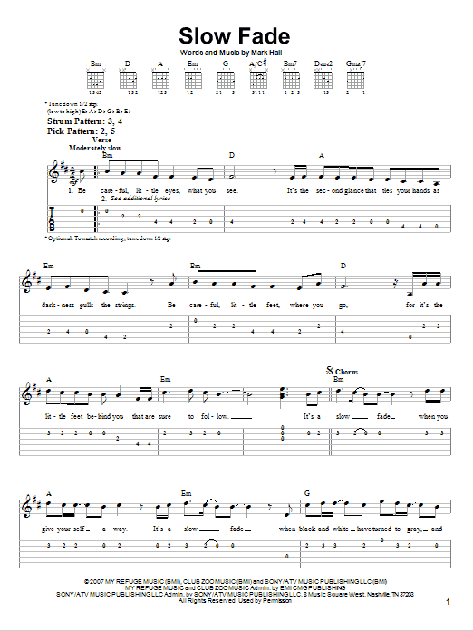Slow Fade sheet music for guitar solo (easy tablature) by Mark Hall