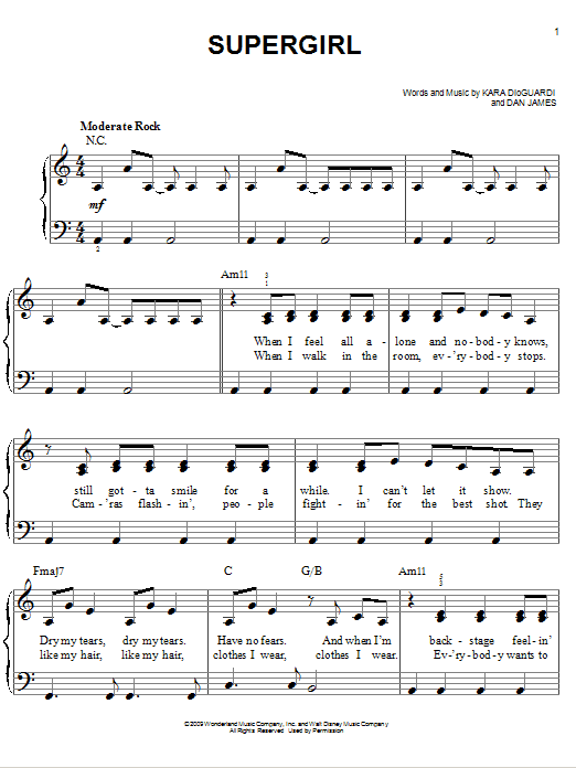 Supergirl sheet music for piano solo (chords) by Dan James