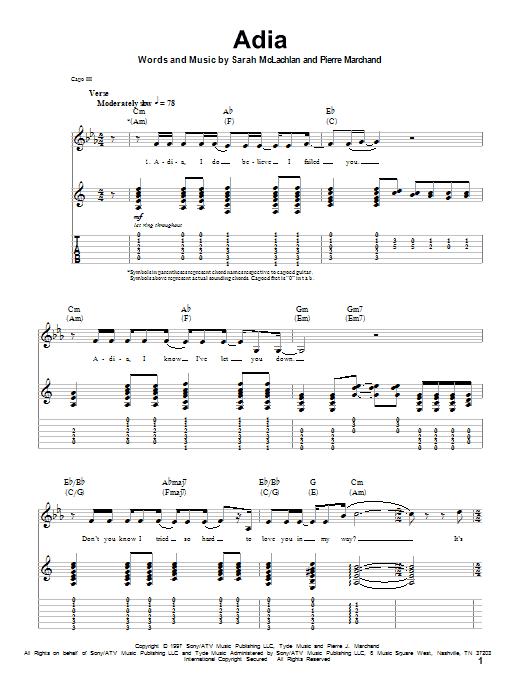 Tablature guitare Adia de Sarah McLachlan - Tablature Guitare