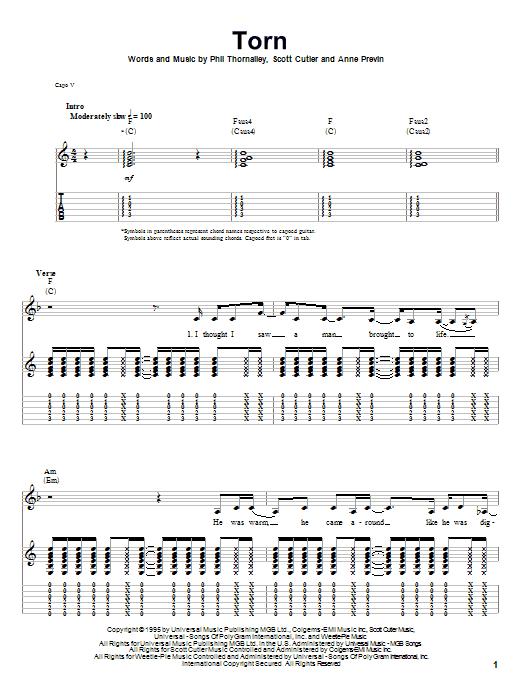 Tablature guitare Torn de Natalie Imbruglia - Tablature Guitare