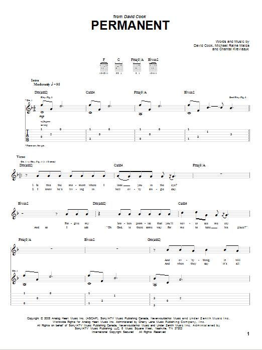 Tablature guitare Permanent de David Cook - Tablature Guitare