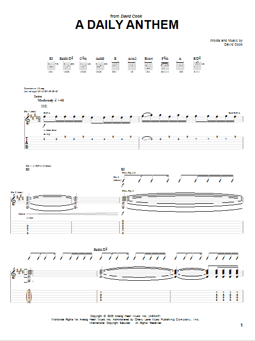 Tablature guitare A Daily Anthem de David Cook - Tablature Guitare