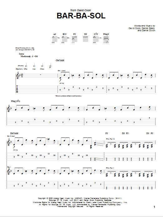 Tablature guitare Bar-Ba-Sol de David Cook - Tablature Guitare