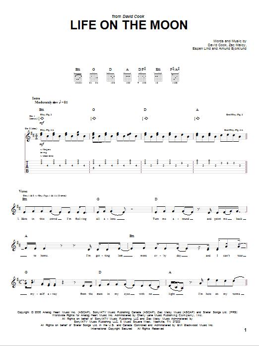 Tablature guitare Life On The Moon de David Cook - Tablature Guitare