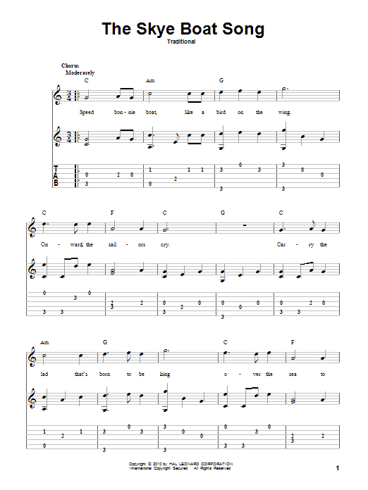 Tablature guitare The Skye Boat Song de Traditional - Tablature Guitare