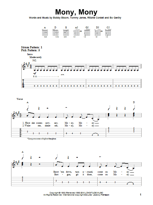 Tablature guitare Mony, Mony de Tommy James & The Shondells - Tablature guitare facile