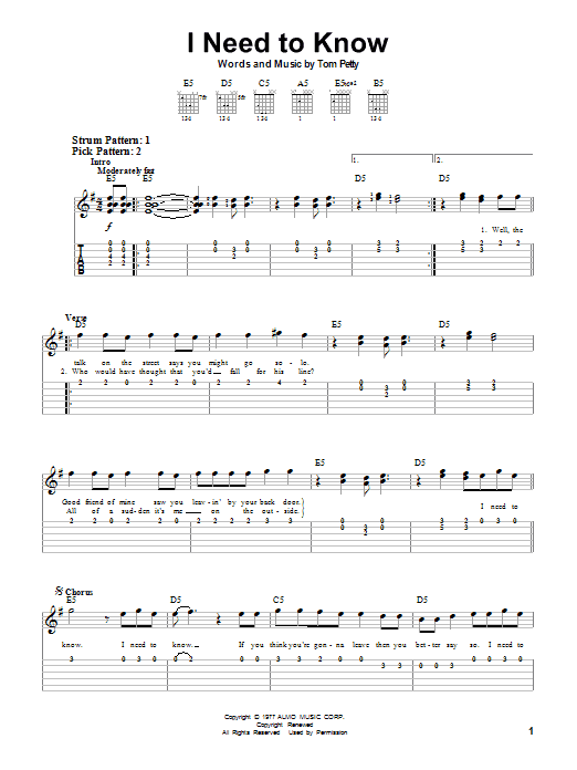 Tablature guitare I Need To Know de Tom Petty - Tablature guitare facile