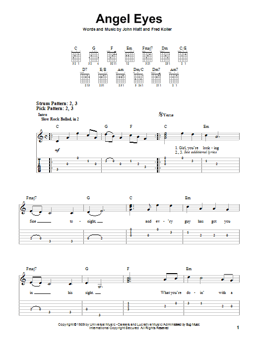 Angel Eyes sheet music for guitar solo (easy tablature) by Fred Koller