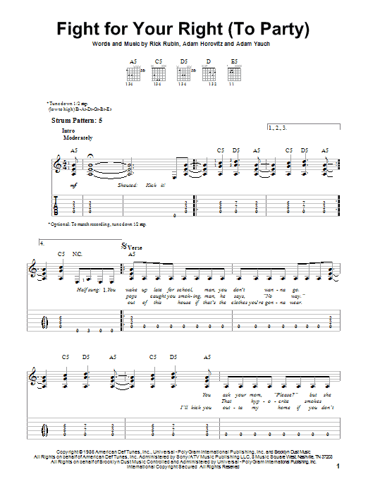 Fight For Your Right (To Party) sheet music for guitar solo (easy tablature) by Rick Rubin