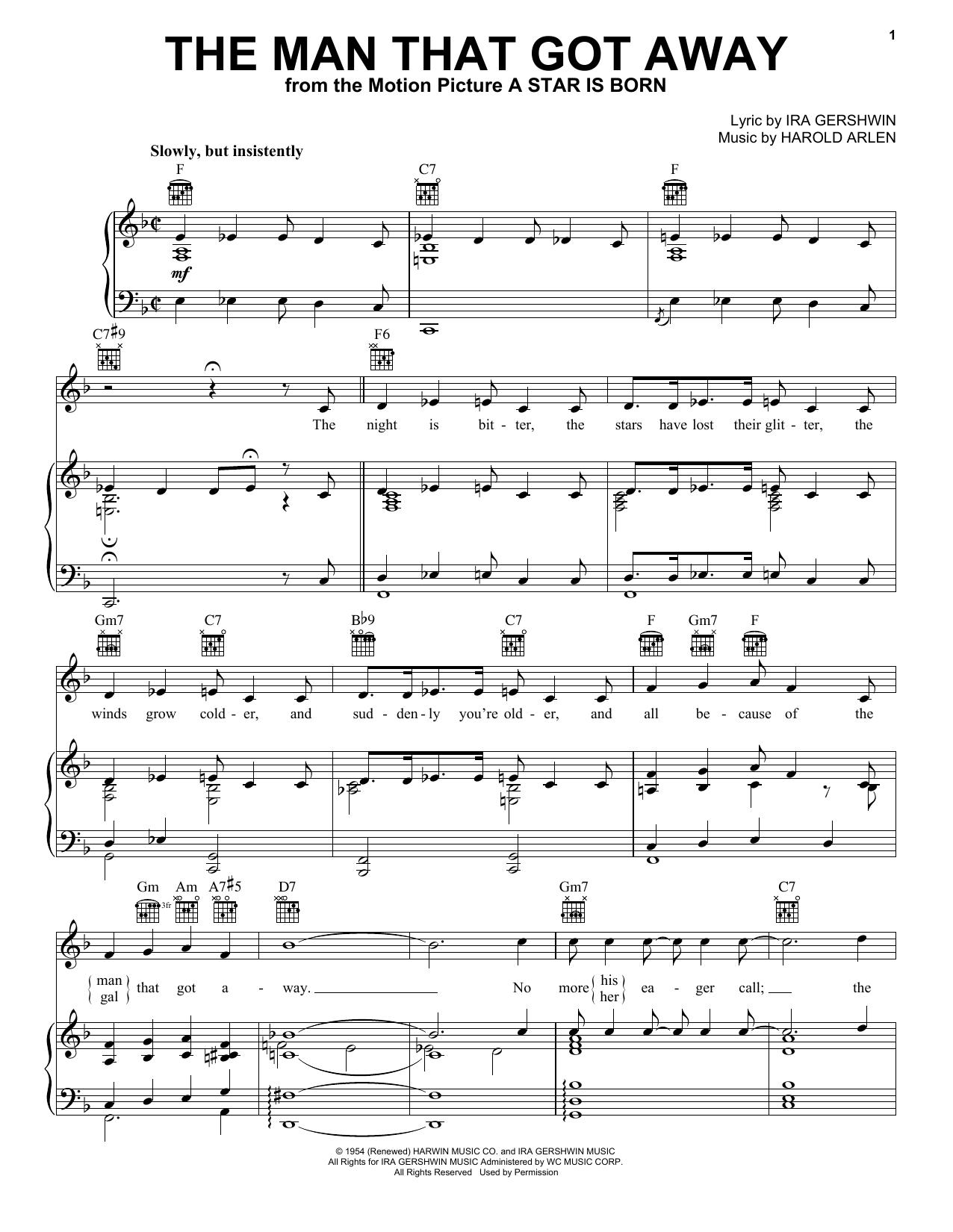 Partition piano The Man That Got Away de Judy Garland - Piano Voix Guitare (Mélodie Main Droite)
