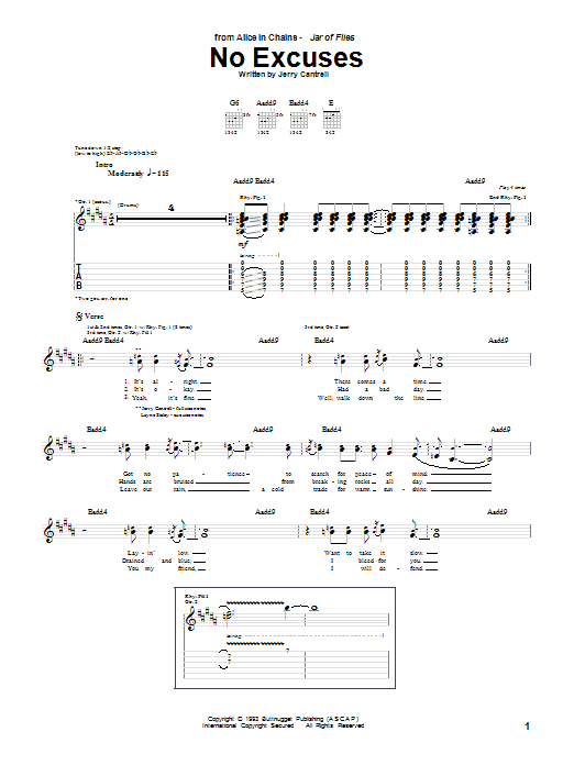 Tablature guitare No Excuses de Alice In Chains - Tablature Guitare